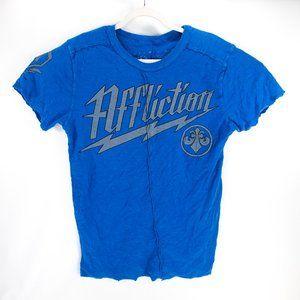 Affliction Mens Graphic T-Shirt Blue Center Seam